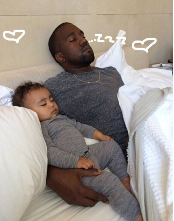 Kim Kardashian Shares A Precious Moment Of Baby North & Her Pop's Kanye Napping On Fathers Day