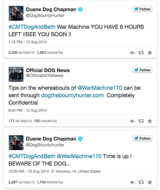 Dog the bounty hunter's tweets