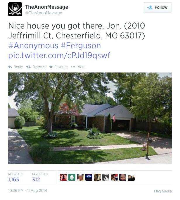 A Hacker Group Known As Anonymous Has Released Personal Information On Ferguson's Chief Of Police
