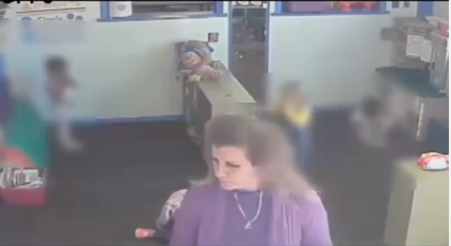 woman kicking child