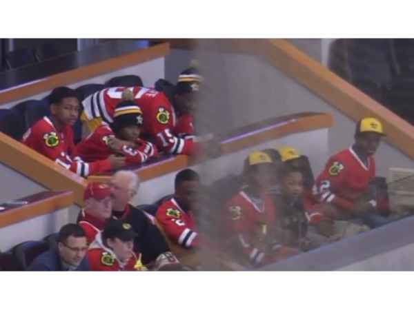 Hecklers Shout 'Cheaters' as Jackie Robinson West Players Watch Blackhawks Game