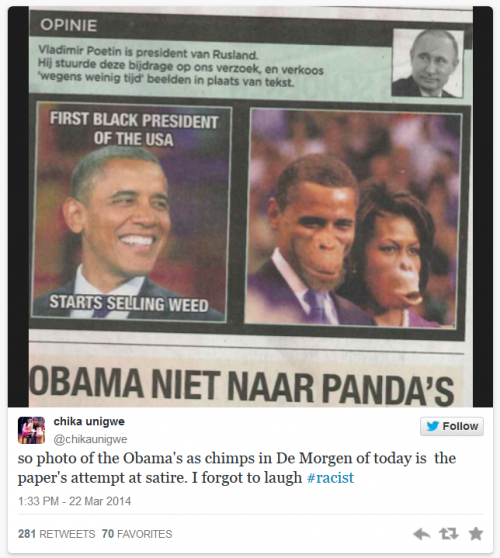 Belgian Newspaper in Trouble for Portraying Obama and Michelle As Apes