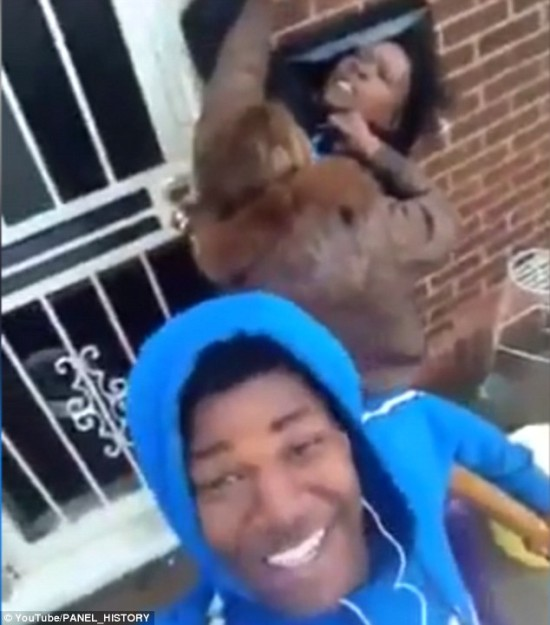 Young Teenage Boy Uses Selfie Stick To Film His Girlfriend Attack & Fight His Mom While Grinning For For The Camera