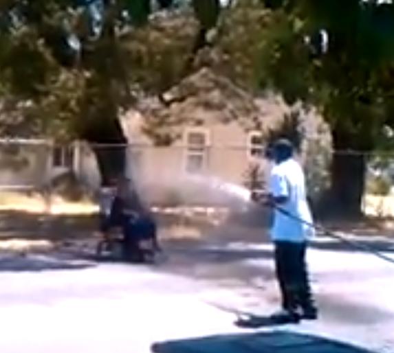 racist woman get hosed