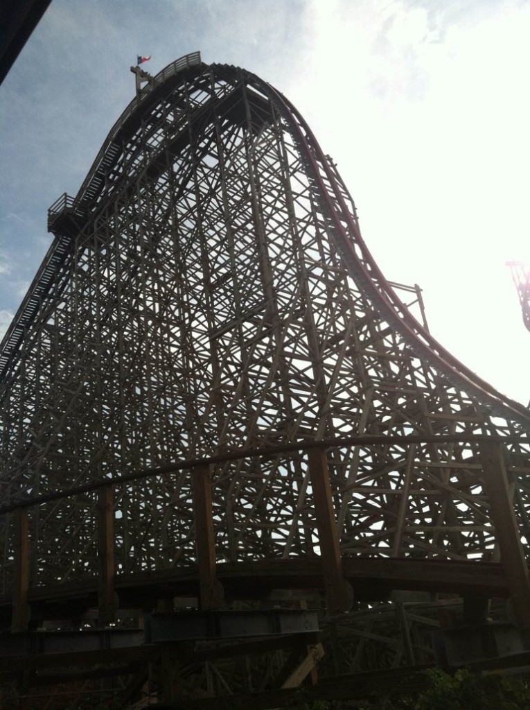 Photo of Texas Giant Roller coaster at Six Flags over Texas in Arlington. A woman died while riding the roller coaster on Friday, July 19, 2013, the theme park said.