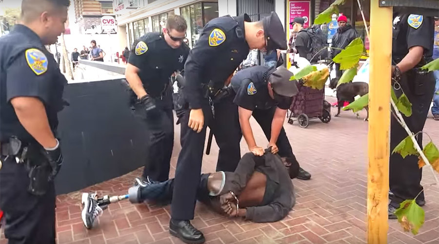 one leg unarmed black guy