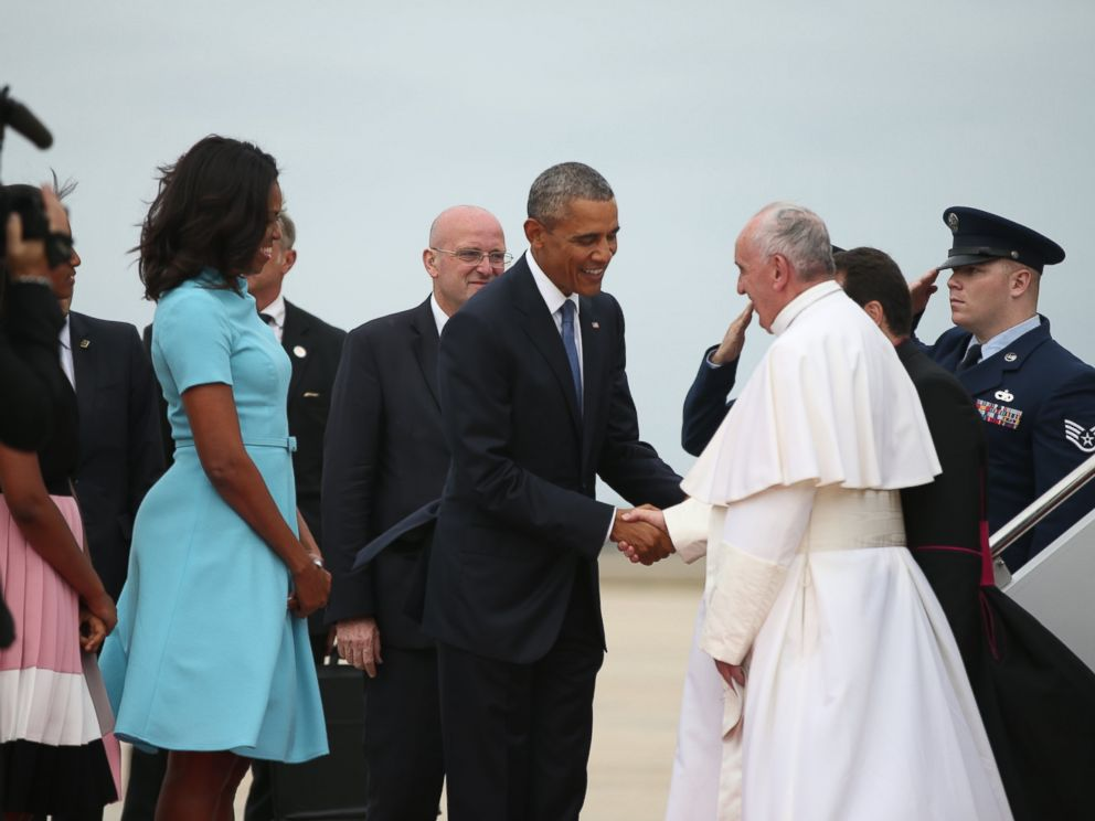 Pope Francis Arrives In The U.S Touching Down Outside Of Washington D.C. For A Historic Visit