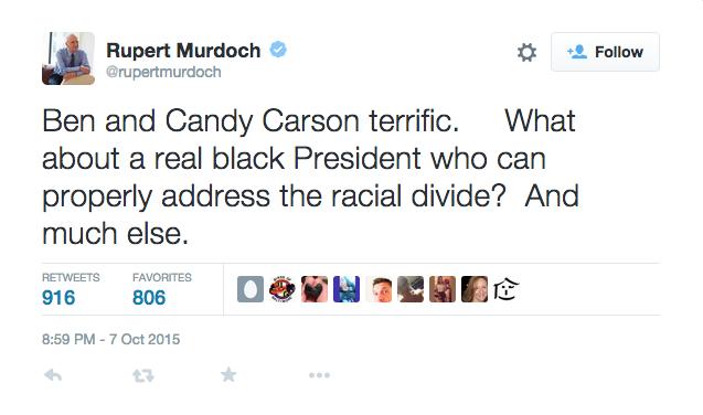 Rupert Muroch Sends A Tweet That America Needs A Real Black President Like Ben Carson