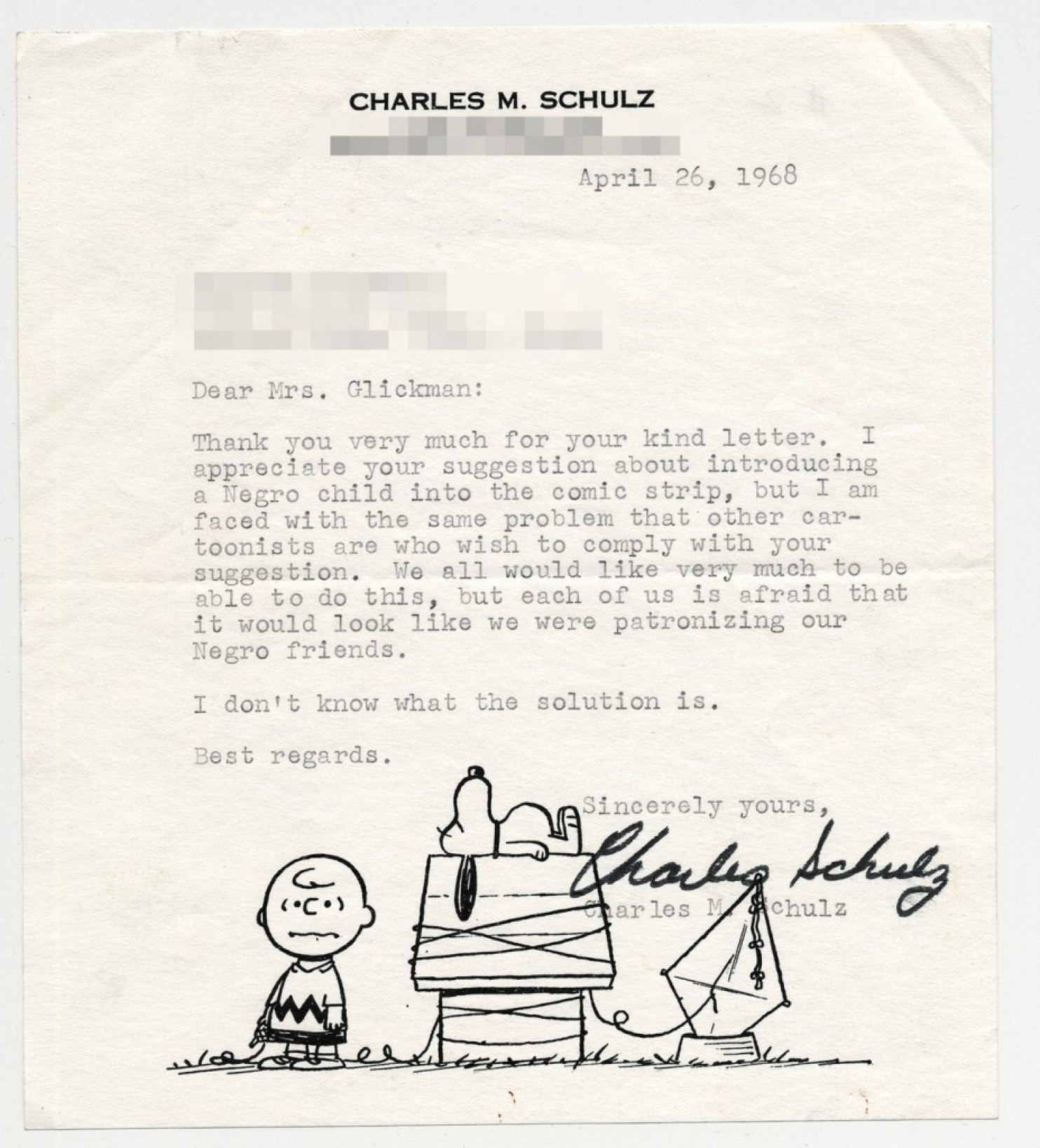 Letter from Charles M Schultz