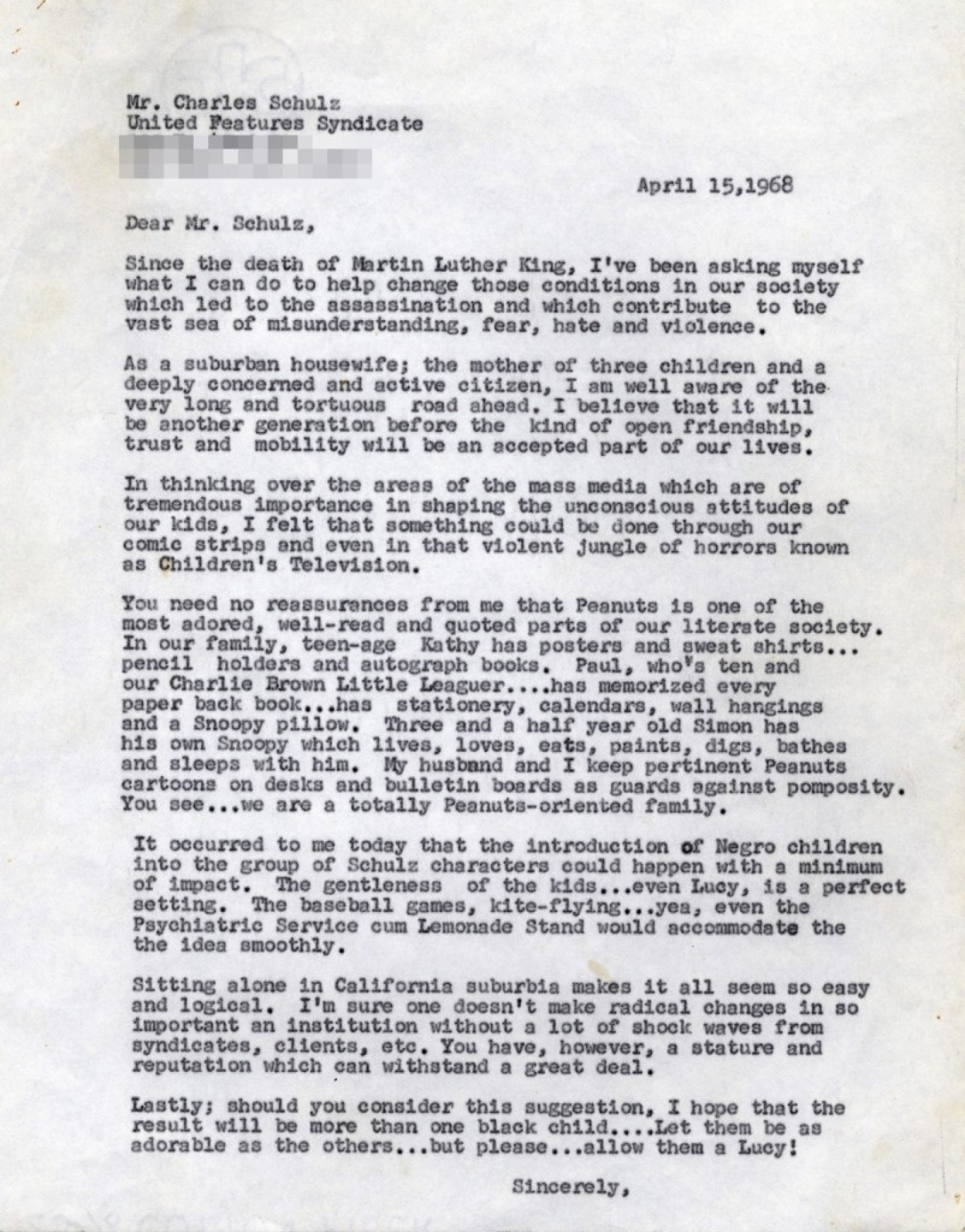 Letter to Charles M. Schultz