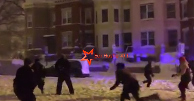 DC Police Officers Join In A Friendly Pick Up Football Game After Blizzard With Neighborhood Teens