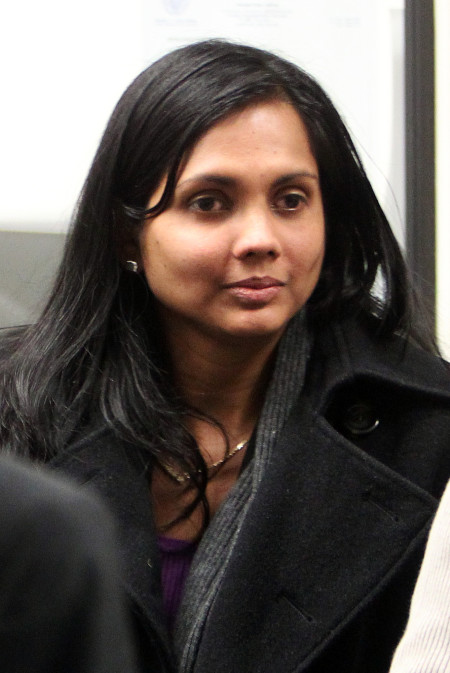 Boston, MA - 12/20/12 - Former state chemist Annie Dookhan leaves the probation office following her arraignment at Suffolk Superior Court, Thursday, December 20, 2012. Staff photo by Angela Rowlings