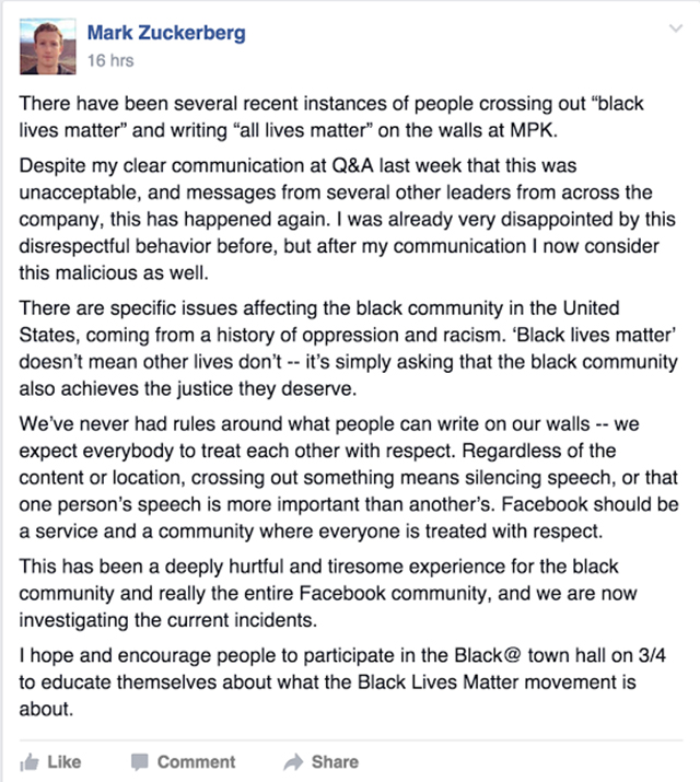 Facebook CEO Mark Zuckerberg Checks Malicious Employees For Crossing Out Black Lives Matter Slogan & Putting All Lives Matter