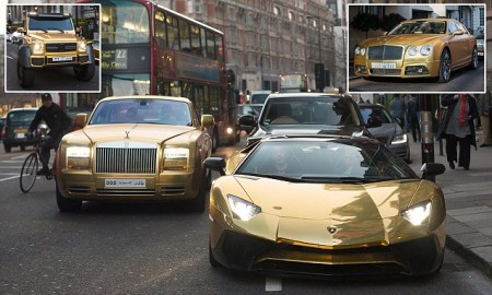 Saudi Billionaire Flies His £1m-Plus Fleet Of GOLD High end Cars To London While On Vacation