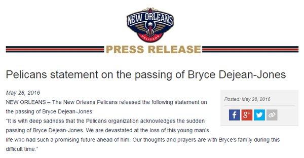 Pelicans statement