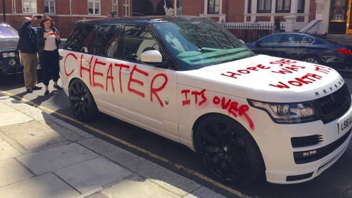 "Oh Snap!!! Scorned Girlfriend Spray Paints ""Cheater, It's Over & Hope She Was Worth It On $100K Range Rover"