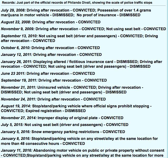Castile's Driving record