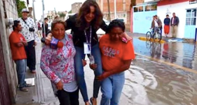 News Reporter Caught Having Mexican Flood Victims Carry Her So Her Shoes Don't Get Wet Gets Fired