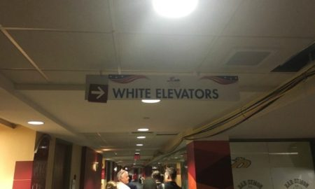 """White Elevators"" Sign Hung At Republican National Convention"