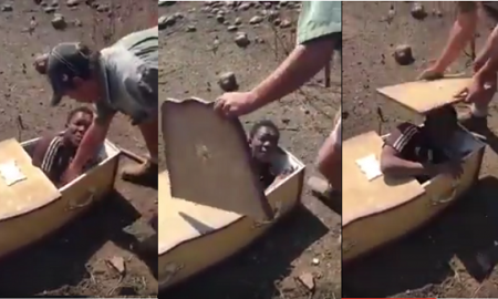 White Men Forcefully Puts A Black Man In Coffin With Plans Of Burrying Him Alive