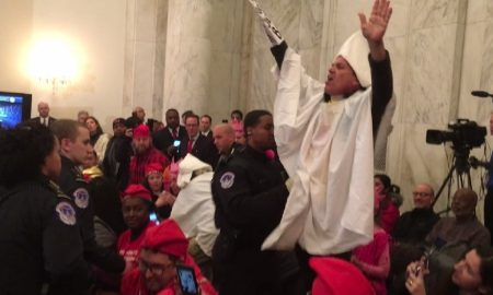 "Protestors Dressed As KKK Members Ejected From Senator Jeff Sessions Senate Confirmation Shouts, ""You Can't Arrest Me, I'm A White Man!"""