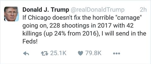 Donald Trump Tweets That He Will Send The Feds To Chicago To Combat The Violence