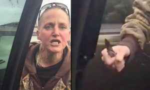 #Switchblade Sandy Pulls Knife On Black Family, Spits and Scream N-Word All Over A Parking Space